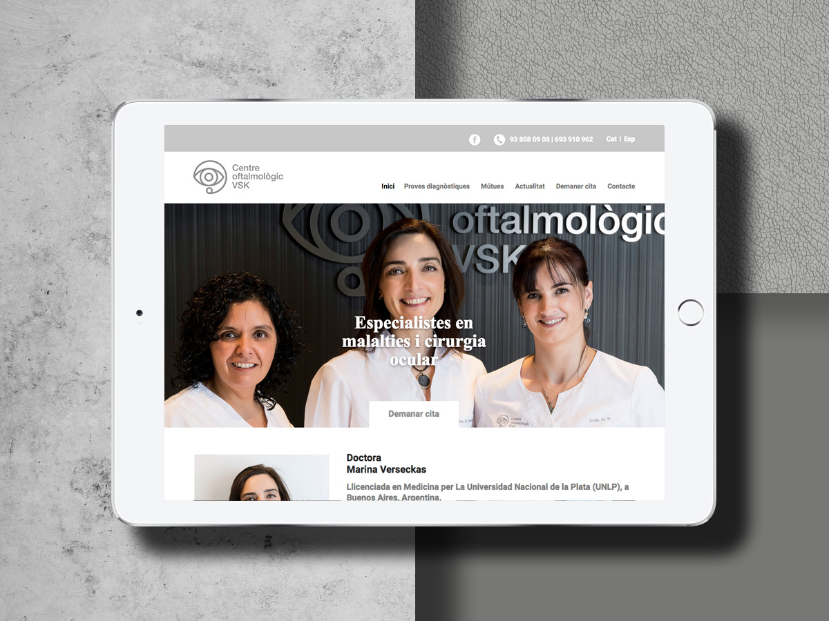 disseny web centre oftalmològic VSK Vic